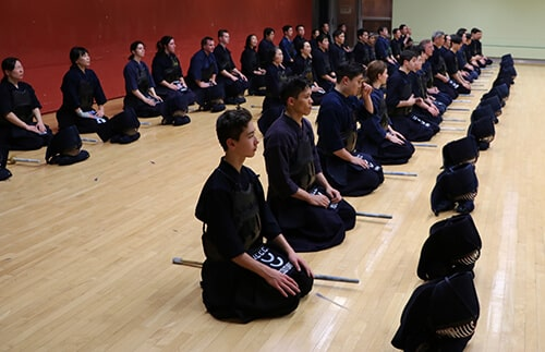 Lines of Kendo students